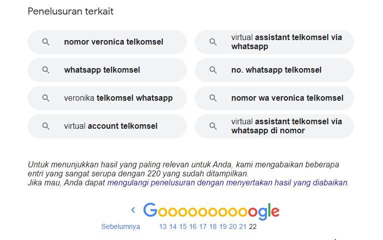Hasil Pencarian di Google tidak muncul semua?