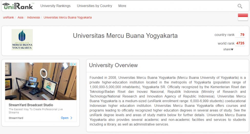 Universitas di Yogyakarta Swasta by UniRank ada di posisi 79 dari kampus-kampus di Indonesia pada Agustus 2021