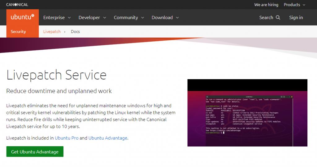 Linux ubuntu 20.04 sudah ada fitur live patch kernel,